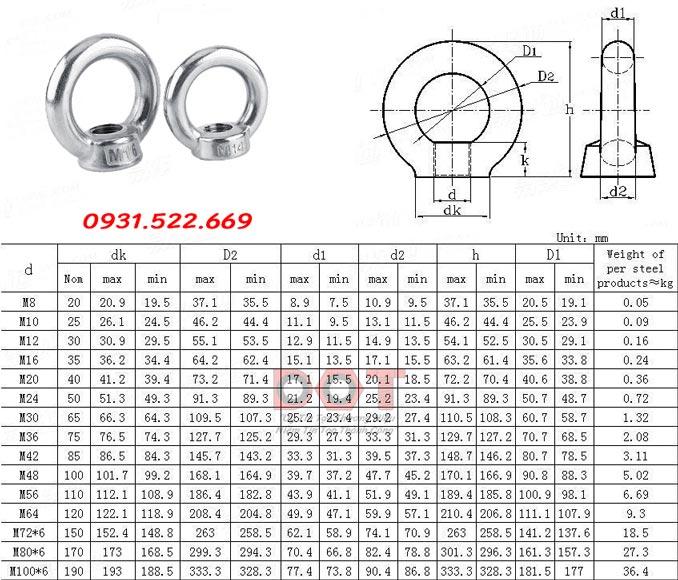 thông số móc cẩu DIN 582